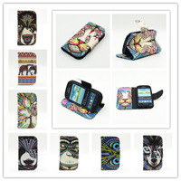 New Animal Head Series Phone Cases Covers For S3MINI Flip Waller Leather Stand Case With TPU Cover For Samsung Galaxy S3 MINI