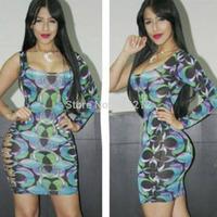 New Sexy Women One Shoulder Party Dress Celebrity Print dresses set Fashion vestidos