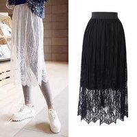 Fashion 2015 Spring Black White Eyelash Lace Hollow Out  Long Skirt High Waist Mid-Calf Causal Women Skirt Party Skirt  JM150121