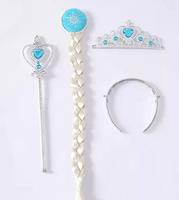Children Accessories Child Girls Crown Tiara Kids Princess Crown Magic Wand + Rhinestone Crown + HairBand + Hairpiece Girls Wig