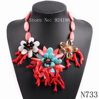 2015 new arrival design fashion big chunky statement choker bib luxury crystal flower stone necklace for women jewelry wholesale