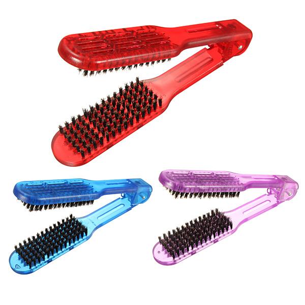 1 Pcs Pro Salon Hairdressing Brush Barber DIY Double Straightening Hair V Comb Hairdresser Brushes Straightener Style Tools(China (Mainland))