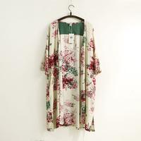 Vintage Floral Shirt Flower Blouse Open Front Cover Ups Long 2015 #202-0057