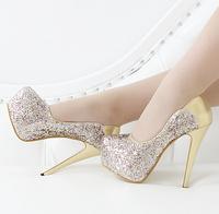 Fashion sexy thin heels single shoes 2015 ultra high heels shoes women's paillette decoration elegant round toe platform shoes