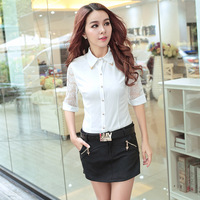 women blouses spring summer 2015 Korean version of the lace half Sleeve XXL wear a white shirt Slim chiffon shirt blouses