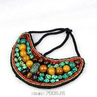 TNL169  Tibetan T-fashion big statement pendant Necklace,Nepal colorful stone beaded sewed Pendants Amazing 2015 Spring New