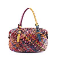 Guaranteed 100% Cowhide Women Bag Genuine Leather Handbags Famous Brands Handmade Weaving Women Messenger Bags