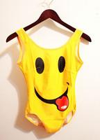fashion 2014 New Women's black milk funny smile yellow kawaii cute one piece swimsuit swimwear