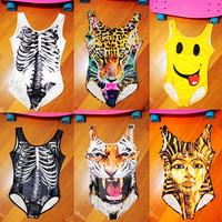 women new 2014 fashion spring summer 3D Leapord tiger pharaoh skeleton print swimsuit swimwear one peice bikini