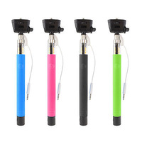 Extendable Selfie Wired Stick Phone Holder Remote Shutter Monopod For iPhone HTC samsung