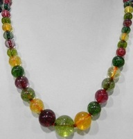 """6-12mm Multicolor Tourmaline Round Beads Necklace 18"""" GE4038"""