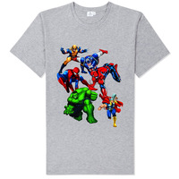 spiderman hulk the avengers t shirt soft comfortable good quality vintage skinny sports style gray