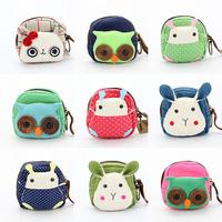 Explosion models cute cartoon girl holding a canvas coin purse mini bag cute little animals fabric bags