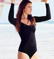 new fashion 2014 Women's swimwear one piece swimsuit feminina long sleeve s m l