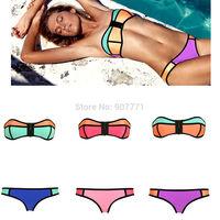 2015 New Neoprene Triangle Sexy Women Strapless Swimsuit Vintage Push-up Padded Bra Bathing Suit Swimwear Push Up Bikini Sets