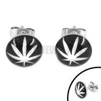 Free shipping! Enamel Marijuana Leaf Earring Body Piercing Stainless Steel Jewelry Trendy Motor Biker Earring Studs SJE370115A