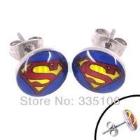 Free shipping! Enamel Superman Earring Body Piercing Stainless Steel Jewelry Blue Trendy Earring Studs SJE370029A