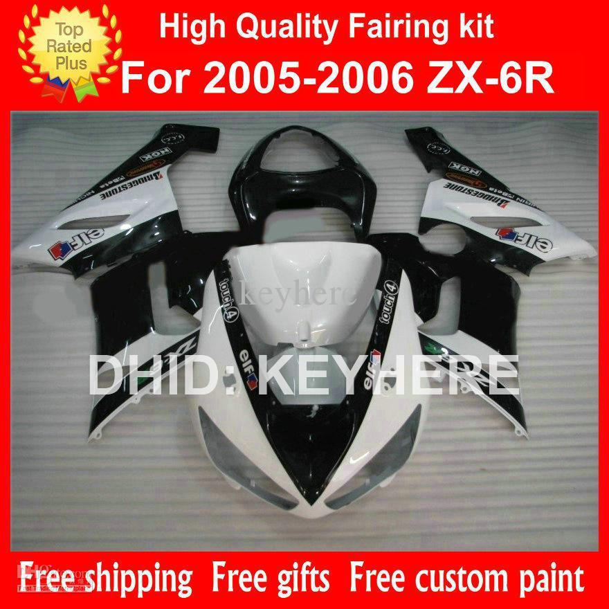 Custom race ABS kit for Kawasak ZX6R fairing kit 05 06 05 06 2005 2006 G9A ZXC motorcycle body work beautiful black white(China (Mainland))