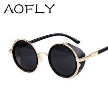 Vintage Steampunk designer sunglasses Side Visor Circle Lens Round sun glasses women men retro vintage glasses oculos goggles(China (Mainland))
