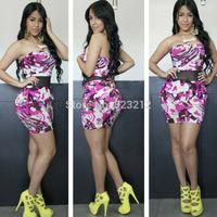 Summer New Fashion Elegant Strapless Casual Dress Retro Print Femme Vestidos Femininos Bandage Dress