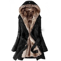 Thickened Faux Fur Lined Waistband Beam Waist Pockets Korean Style Cotton Solid Color Coat For Women