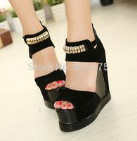 2015 women's summer fashion shoes ultra high heels platform sandals female wedges sandals open toe shoes