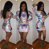 Hot Sale Fashion Women Print Bandage Dress Saias Femininas Summer Dress Clothing