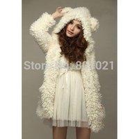 Fur & Faux Fur Cute Bear Ear Design Hooded Long Sleeves White Faux Fleece Coat For Women 2015