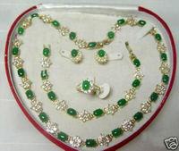 Popular jewelry Green Jade Necklace Bracelet Ring Earring Set    A2
