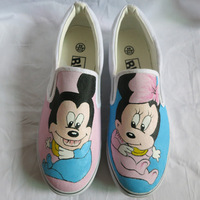 Cartoon Male and Female Mouse Pattern Custom Graffiti Hand Painted Slip On Canvas Shoes Men/Women's Sneakers