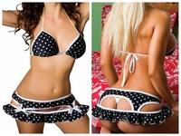 quality Sexy triangle bikini Sets Dot Swimsuit Swimwear Bathing Suit bra&2 X underpants Padded Micro Mini Thong three-piece suit