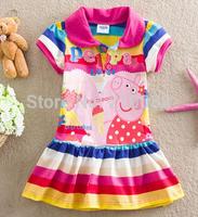 2015 Hot Sale Girls Dresses Peppa Pig Print Stripe Clothing For Kids Girl George Children Dress girls fashion dress