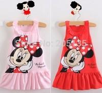 2014 baby girls  dress toddler kids girls princess dress sleeveless party dress Red&Pink cartoon dress