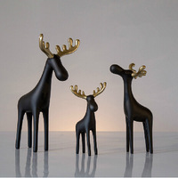 Small size  17cm height Resin  Black Golden horn Handmade  Elk Decoration 2015 New Design   home decoration office decor