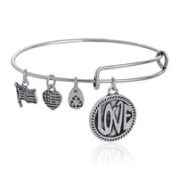 Free shipping!! Alex and Ani Love Expandable /adjustable Wire bracelets & bangles Good Luck as gift for men/women