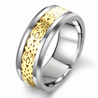Valentine's Day Vintage Tungsten steel Ring for Men  Wedding Titanium rings Band new punk Rings