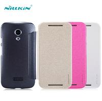 high quality nillkin sparkle folder leather case for motorola motor g2 cell phone tpu+pc flip phone case