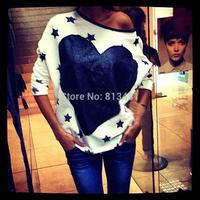 New 2014 women fashion Loose oversize star heart print long sleeve o-neck hoody swearshirt s m l