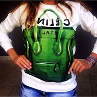 New 2014 women fashion Luggage bag letter pattern long sleeve o-neck hoody swearshirt m l xl