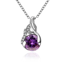 Statement Necklace For Women Purple Austria Crystal 18K White Gold Necklaces & Pendants Beautiful Design Pendant Necklace FVN022