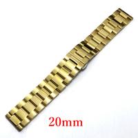 Golden 20mm Stainless Steel Watch Band for Wrist Watch Men GD014020