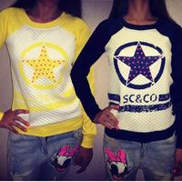 New 2014 women fashion 2color navy/green circle star print long sleeve pullover hoody sweatshirt s m l