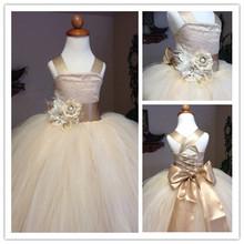 2015 primeiros vestidos de comunhão vestido de baile Champagne Flower meninas Pageant vestidos para casamentos de cintas de flores Sash Lace Up longo(China (Mainland))