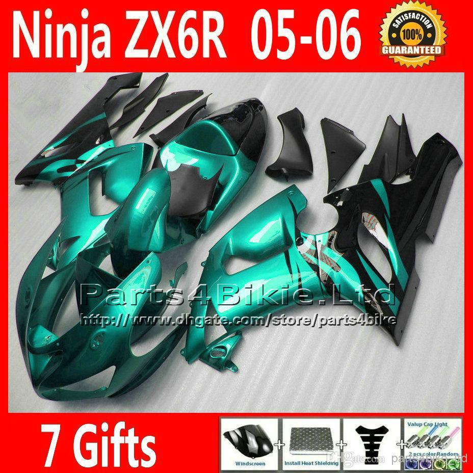 Customize fairings set for 05 06 Kawasaki Ninja ZX6R 2005 2006 new aftermarket 636 green black fairing kit TQ11 + Seat cowl(China (Mainland))