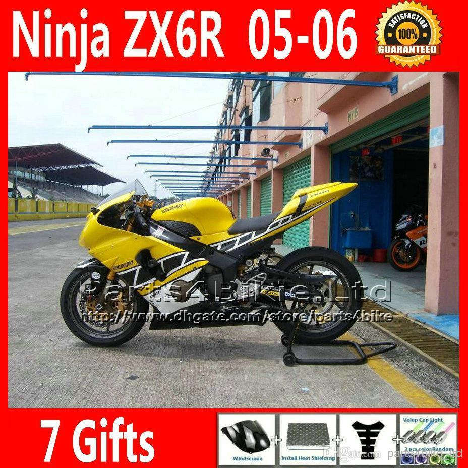 7 Free Gifts yellow black motorcycle for Ninja 2005 2006 Kawasaki ZX6R fairing kits 636 body kit 05 06 NQ47(China (Mainland))