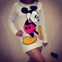 New 2014 women fashion carton print long hoody Long sleeve sweatshirt T-shirt s m white/pink