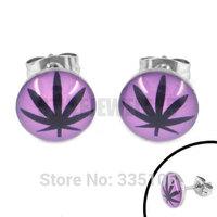 Free shipping! Enamel Purple Marijuana Leaf Earring Stainless Steel Jewelry Fashion Women Motor Biker Earring Studs SJE370130A