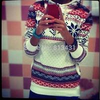 2014 New women winter Harajuku Fleece thinken snowflake long sleeve Casual warm hoody sportwear sweatshirt female
