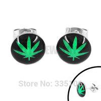 Free shipping! Enamel Marijuana Leaf Earring Body Piercing Stainless Steel Jewelry Classic Motor Biker Earring Studs SJE370128A