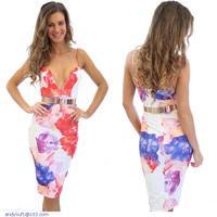 Plunging Cut Knee Length Print Dress LC21852